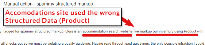 Screenshot of a post by a publisher penalized for using the wrong structured data type