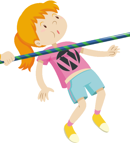 Image of a child symbolizing WordPress 5, doing a limbo under a pole