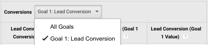 Google Analytics - Landing Page Conversion Goal