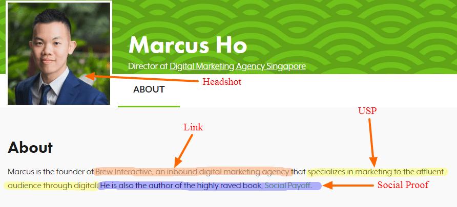 Marcus Ho - Sample SEJ Profile Bio