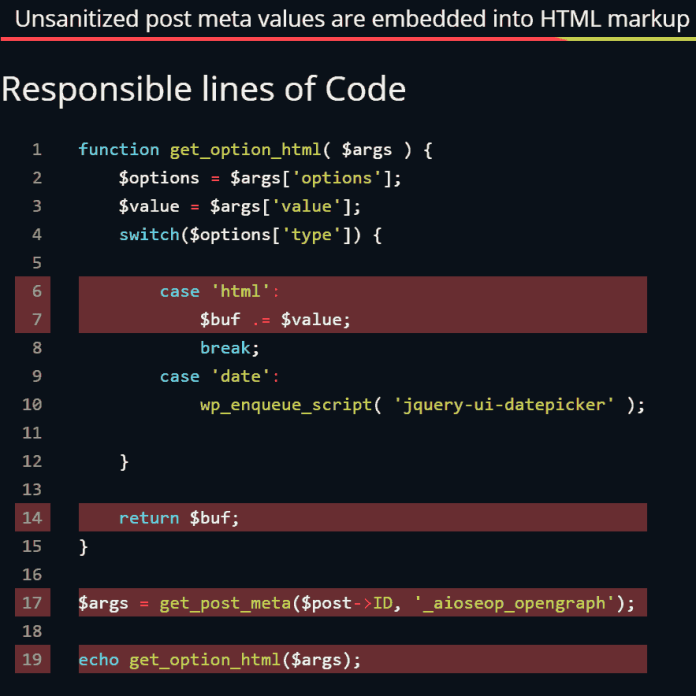 Screenshot of code from the All in One SEO Pack plugin