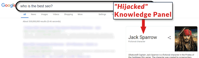 Screenshot of what appears to be an altered search result on Google