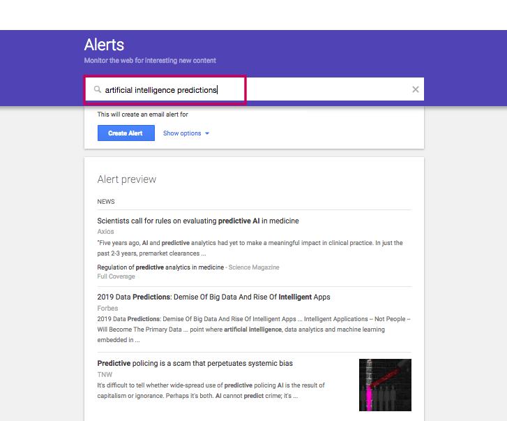 Google Alerts for Link Opportunities