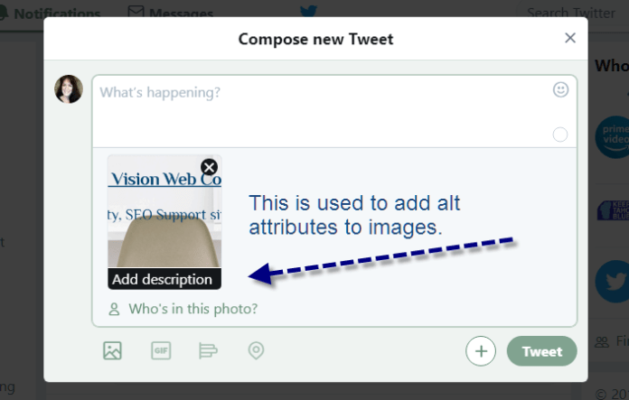Screenshot of example for how to edit alt attributes in Twitter.