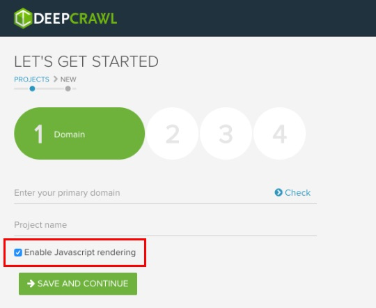 DeepCrawl setup screenshot