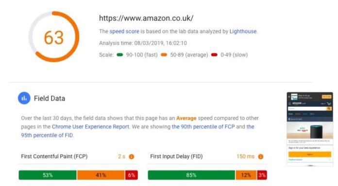 PageSpeed Insights screenshot