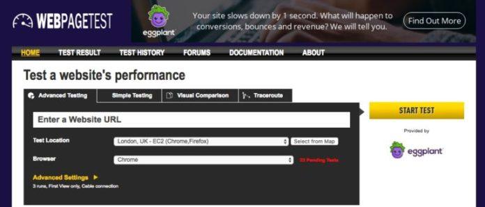 WebPageTest screenshot