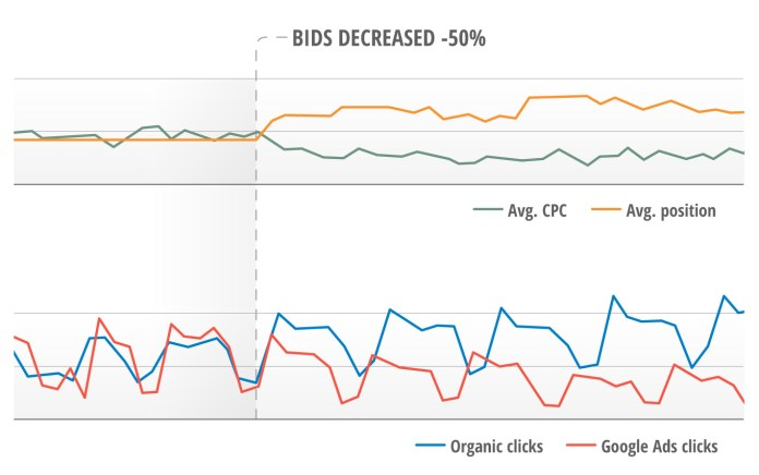 The branded term campaign had a 50 percent bid decrease. The CPC decreased and the ad position became worse. Since then we have also observed a decrease of ad clicks but in the same time, an increased number of organic clicks for branded search terms.