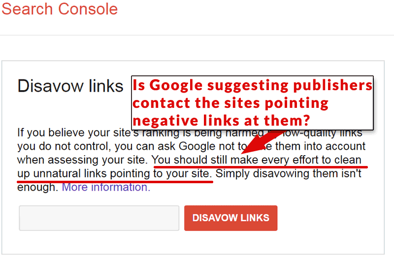 Another screenshot of Google disavow tool