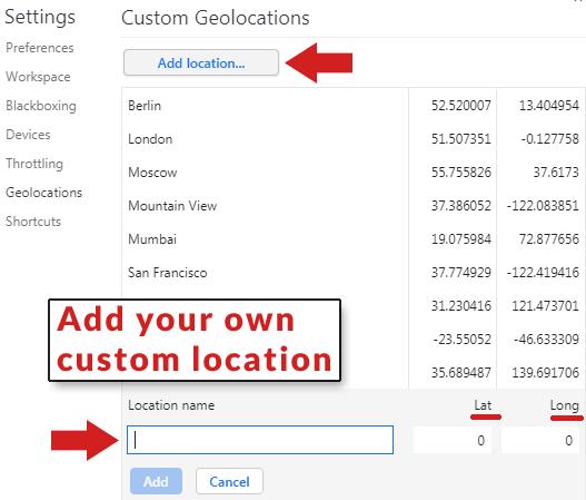 Add your own custom geolocation