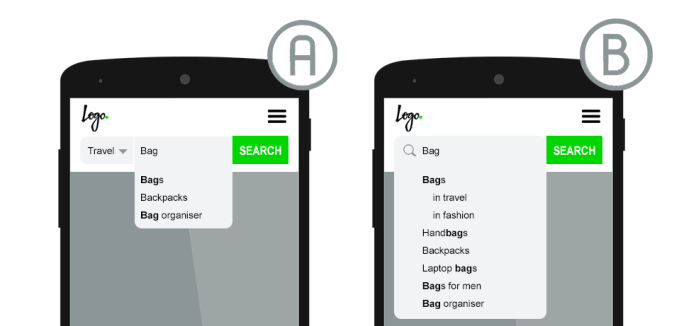 categories within on-site search