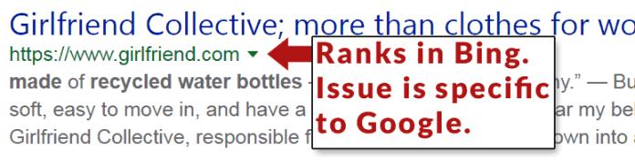 Screenshot of Girlfriend.com ranking in Bing.