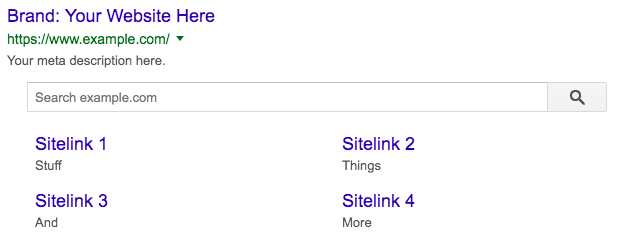 sitelinks searchbox google