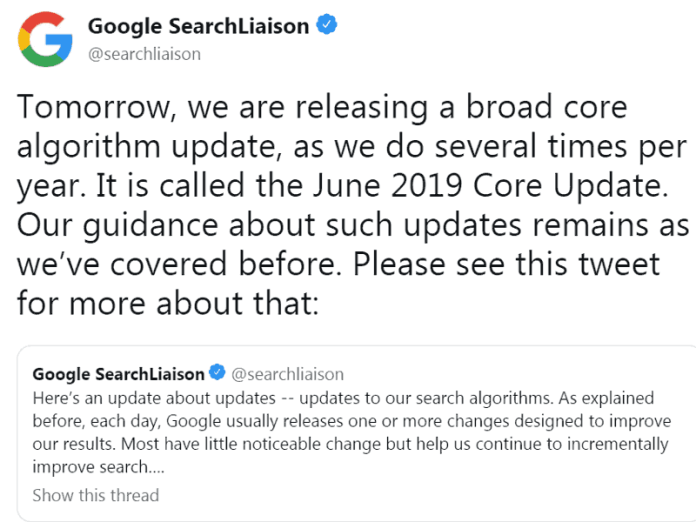 Screenshot of Google's official broad core algorithm update announcement made on Twitter