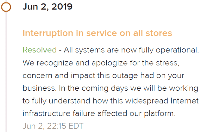 Screenshot of Shopify announcement that outage is resolved