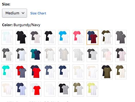 T-shirt de variation de produit d'Amazon