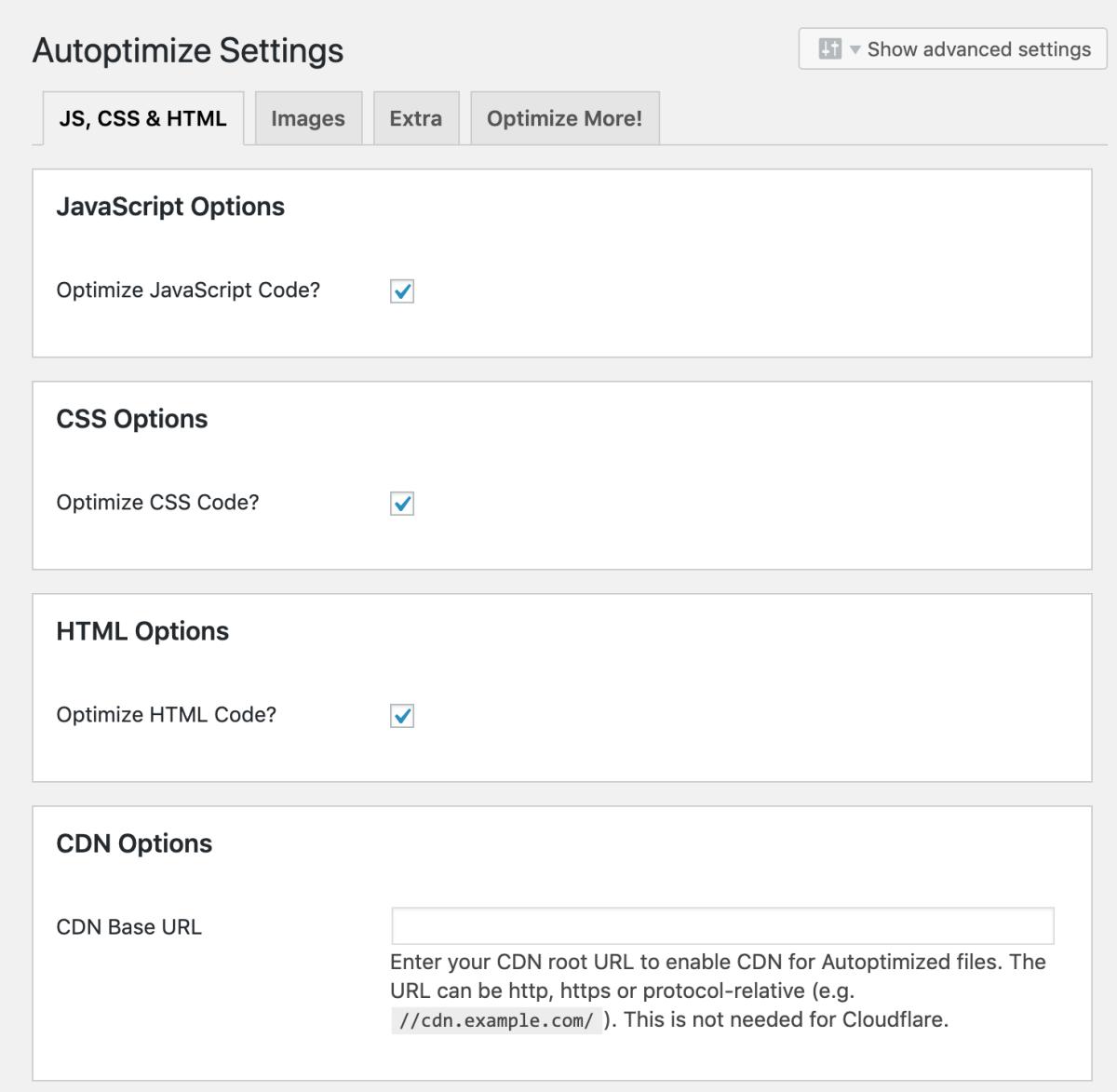Autoptimize plugin settings.