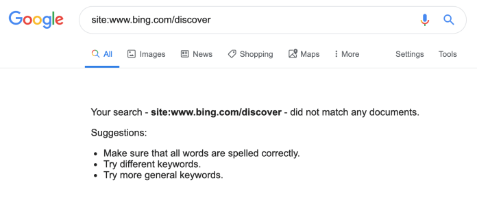 Google Stops Sending Referral Traffic to Bing's 'Discover' Section