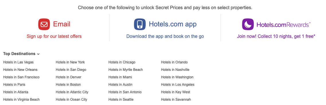 hotels footer links
