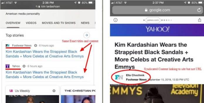 Screenshot showing Google bias toward larger sites