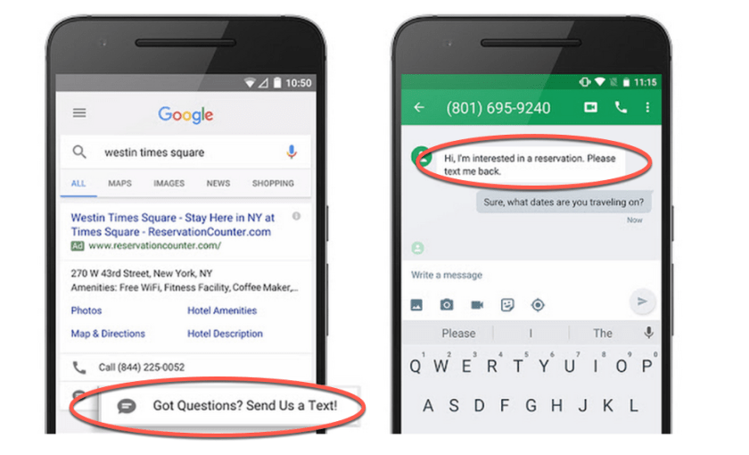 Google Ads message extensions example