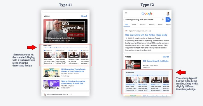 timestamp video examples google