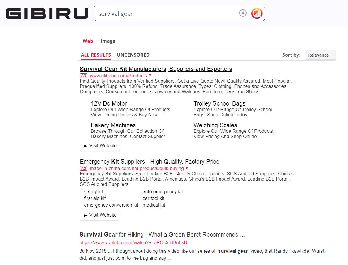 Gibiru search engine