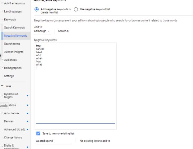 Add negative keywords to a list in Google Ads