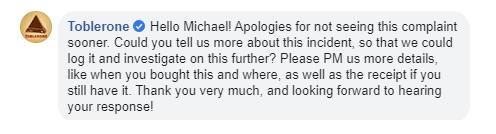 Toblerone response to unhappy buyer
