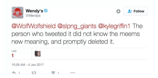 Wendy's response to bad press