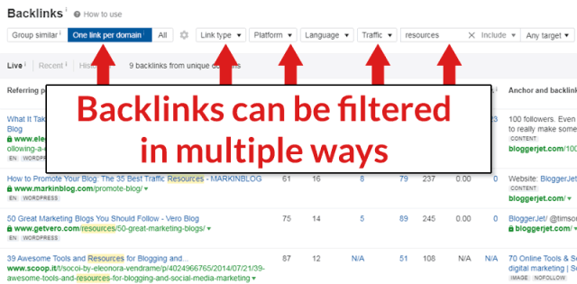 Screenshot of Ahrefs Webmaster Tools backlink filter options