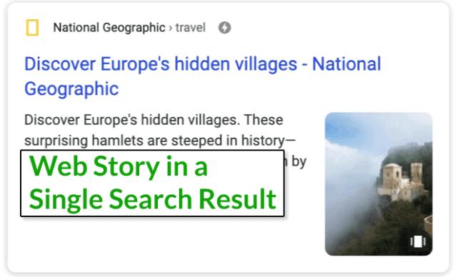 لقطة شاشة لقصة ويب واحدة في نتيجة البحث