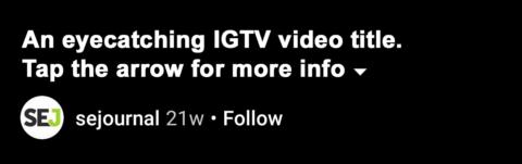 عنوان IGTV مع عبارة تحث المستخدم على اتخاذ إجراء
