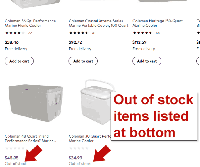 Screenshot of a product search page showing out of stock products last