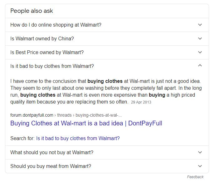 Walmart People Also Ask