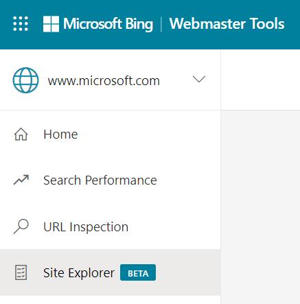 مستكشف الموقع: قائمة أدوات مشرفي المواقع في Bing