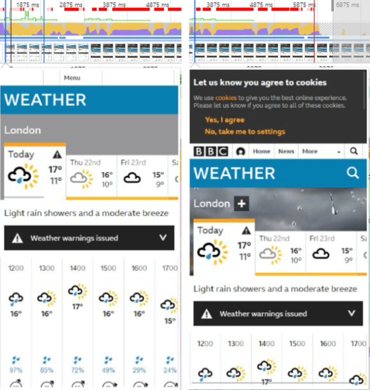 BBC Weather layout shift example