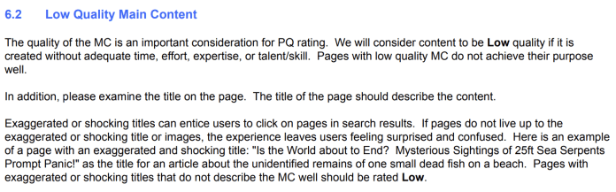 Quality Rater Guidelines UX Section 6.2