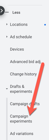 Use experiments in Google Ads for testing.