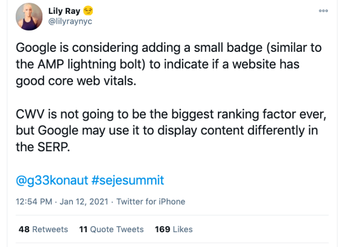 Core Web Vitals is not going to be the biggest ranking factor.