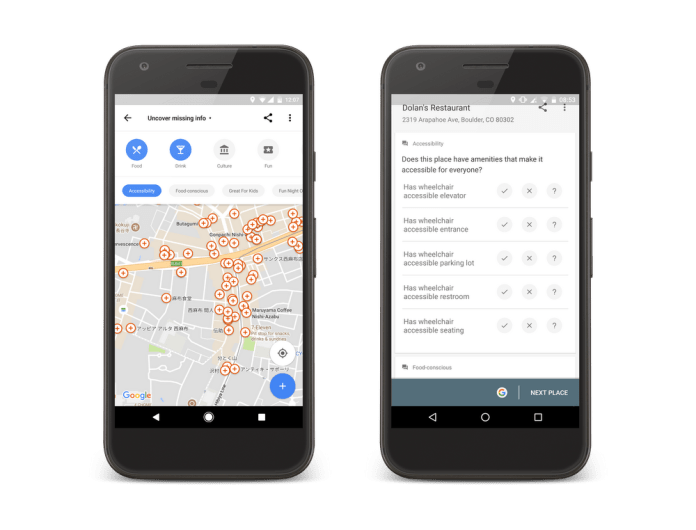 Accessibility information on Google Maps