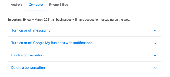 GMB business messaging on desktop