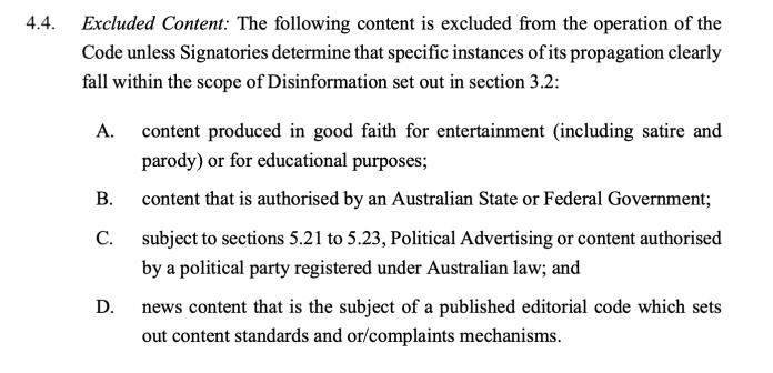 Section 4.4 of Australia's code