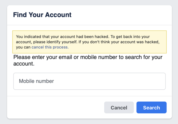 Convenient URL of Facebook to access your account if it gets hacked.