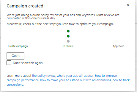 Microsoft confirming campaign set up.