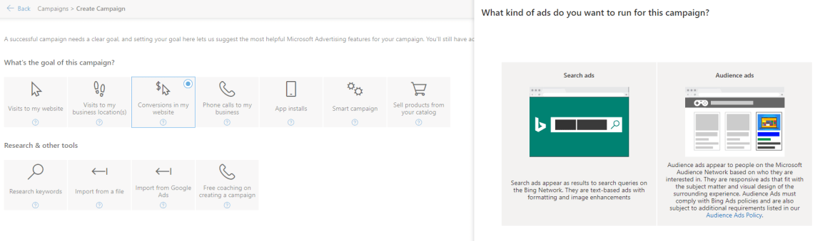 Microsoft selecting goal and audience network.