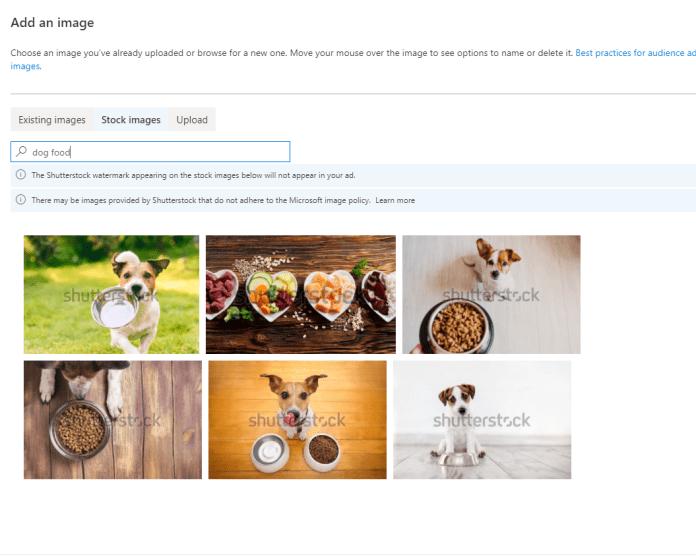 Microsoft Shutterstock integration.