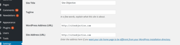 WordPress settings for Site Title, Tagline and Addresses.