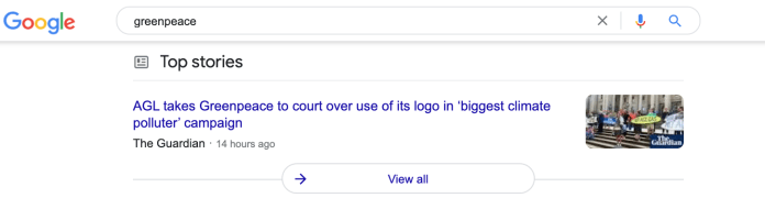 Google News Box for Greenpeace.
