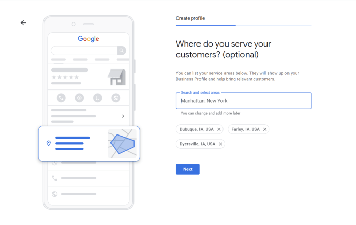 Adding service areas in Google My Business.